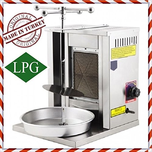 Gas Machine Gyro (Meat Capacity 8 kg / 17 lbs PROPANE GAS 1 BURNER Spinning Grills VERTICAL BROILER Shawarma Gyro Doner Kebab Tacos Al Pastor Grill Griddle Machine / Meat Plate Holder / Skewer and Service Tray INCLUDED)