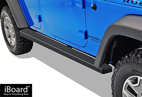 iBoard (Black Powder Coated 4 inches) Running Boards | Nerf Bars | Side Steps | Step Rails For 2007-2017 Jeep Wrangler Sport Utility 4-Door