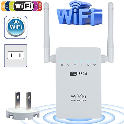Wifi Range Extender, LinkStyle AC750 750 Mbps Wifi Repeater Signal Booster Amplifier Dual Band 2.4GHz/5GHz with Ethernet Port Antenna 802.11 ac/b/g/n AP/Router/Repeater Mode Full Coverage by LinkStyle