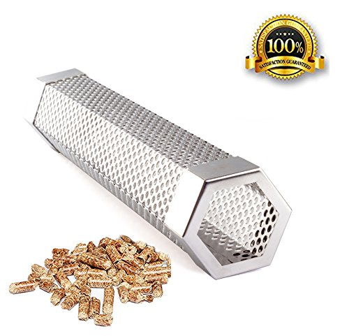"Pellet Smoker Tube Smoker Pipe 12"" Stainless Steel BBQ Pellets Grill for Cold & Hot Smoking Image"