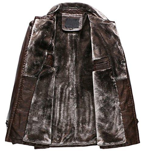 PU Coat Jacket Plus Trench Earth Yellow Warm Collar Men's velvet Leather Parka Suit Winter Outerwear B8wx7qZF