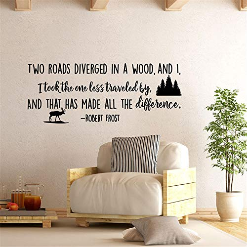 Art Saying Lettering Sticker Wall Decoration Art Robert Frost Inspirational Quote Two Roads for Living Room Bedroom Nursery Kids Bedroom