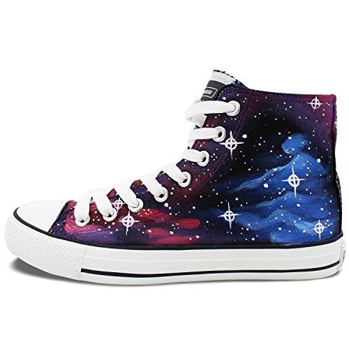 Wen Original Galaxy Étoiles Peint À La Main Des Chaussures De Toile Unisexe Haut Haut Baskets