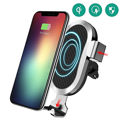 Wireless Car Charger, Esolom Fast Wireless Charging Mount Air Vent Gravity Phone Holder Cradle Quick Charge 3.0 for iPhone X/8 Plus/8 Android Samsung Galaxy S8 S7 and All Qi-enabled Devices by ESOLOM