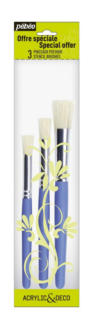 Pebeo 951190 White Bristle Stencil Brushes, 3-Pack Pebeo Fabricant de Couleurs