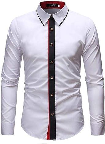 Desconocido Camisa de Vestir para Hombre, con Botones y elástico, para Oficina, Boda, Trabajo: Amazon.es: Ropa y accesorios