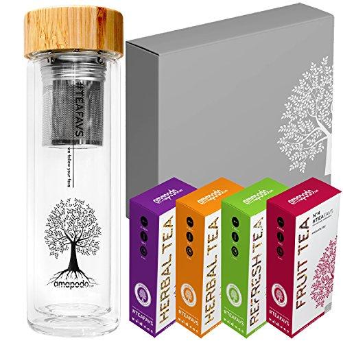 amapodo Tee Geschenke für Frauen Männer Geschenkbox Geschenkset nachhaltige Geschenkidee 2x Früchtetee 2x Kräutertee 1x Teeflasche