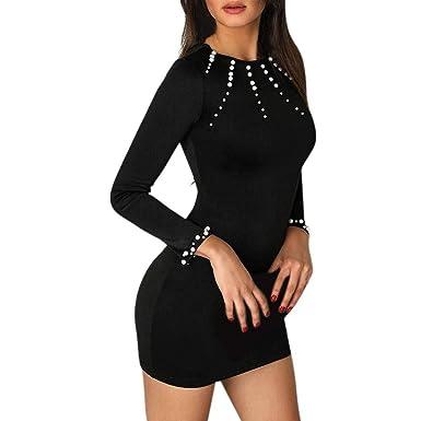 67c607e14 VJGOAL Mujer Verano Moda Casual Negro Cuello Redondo con Cuentas de Manga  Larga Vestido Ajustado Vestido