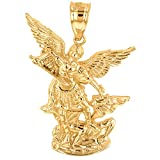 Solid 10k Yellow Gold Catholic Saint Michael The Archangel Pendant (1.35'')