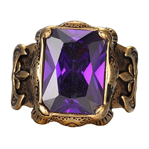MOWEN Jewelry Men's Large 14K Gold plated Stainless Steel Purple Crystal Knight Cross Flower Gothic Vintage Ring Gold Purple (8)