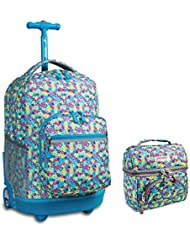 J World New York Sunrise Rolling Backpack & Corey Lunch bag Set (Floret)