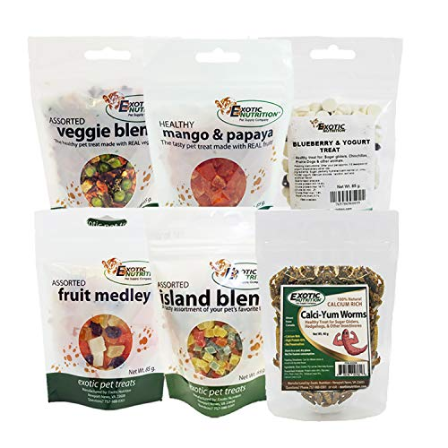 - Treat Assortment 6 Pack - Pet Treat with Mix of Dried Fruits, Yogurt, Dried Insects, & Other Crunchies - For Sugar Gliders, Hedgehogs, Squirrels, Rabbits, Marmosets, Rats, Hamsters - Sample Variety