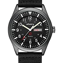 INFANTRY Mens Analog Sport Watch Army Military Field Wrist Watches for Men Nylon Strap Day & Date