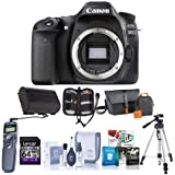 Canon EOS 80D DSLR Camera Body, Black - Bundle With Camera Bag, 64GB Class 10 SDXC Card, Spare Battery, Tripod, Remote Shutter Trigger, Memory Wallet, Cleaning Kit, Software Package,
