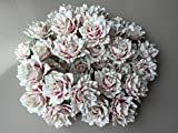 20 pcs Rose White Pink Color Mulberry Paper Flower 40mm Scrapbooking Wedding Dollhouse Supplies Card by' Thai Decorated