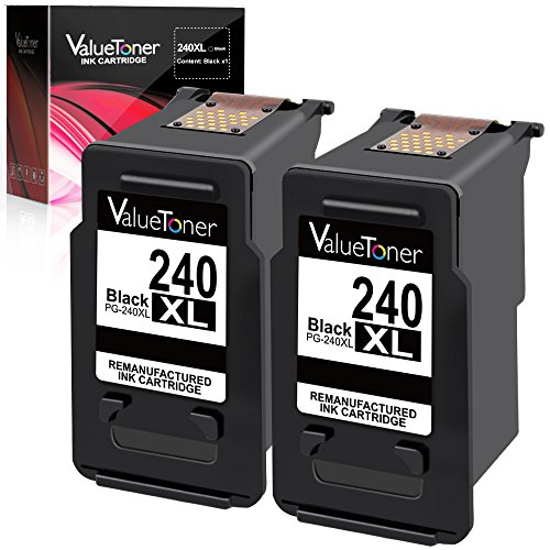 Valuetoner Remanufactured Ink Cartridge Replacement for Canon PG-240XL 240 XL for Pixma MG3620 MX532 MG2120 MG2220 MG3120 MG3122 MG3220 MG3222 MX432 MG3520 MX452 MX512 High Yield (Black, 2 Pack)