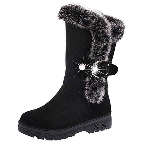 Shoes Boots Flat Skid Black Eastlion Short Keep Classic Anti Warm Fur Women's Winter Lined UPqT7