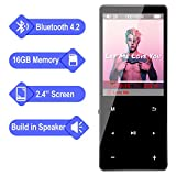 MP3 Player - Aomago 16GB Music Player with Bluetooth 4.2, Portable HiFi Lossless Sound Sports MP3 Player for Kids with Speaker FM Radio Voice Recorder, 2.4' Screen Touch Button, Support up to 128G