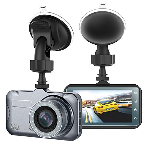 Dash Cam Camera for Cars with Full HD 1080P 170 Degree Super Wide Angle Cameras, 3.0″, Loop Recording WDR, TFT Display, G-Sensor