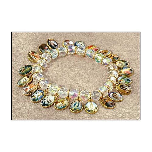 Blessed By Pope Francis Saints Jewelry Religious Ab Beads 22 Medals Bracelet