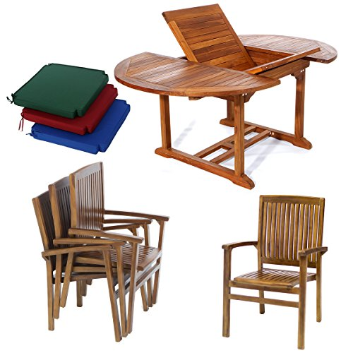5pc. Teak Oval Extension Table with Stacking Arm Chair and Green Cushions -