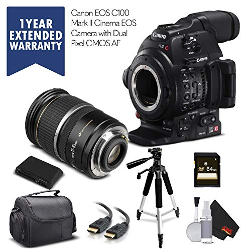 Canon EOS C100 Mark II with Dual Pixel CMOS AF 0202C002 & 17-55MM Lens with Memory Card, Case, Tripod, and Extended Warranty - Starter Bundle - (International Version)