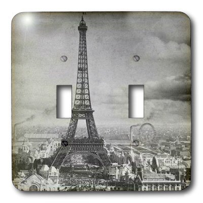 Home Improvement 3dRose lsp/_6793/_2Eiffel Tower Paris France 1889 Black And White Double Toggle Switch Multicolor 3D Rose
