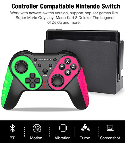 Wireless Pro Controller Replace for Nintendo Switch Controller, Switch Controller Compatible with Switch/Switch Lite, Extra Joypad for Switch Pro Controller, BEBONCOOL Pro Controller Switch Green Red