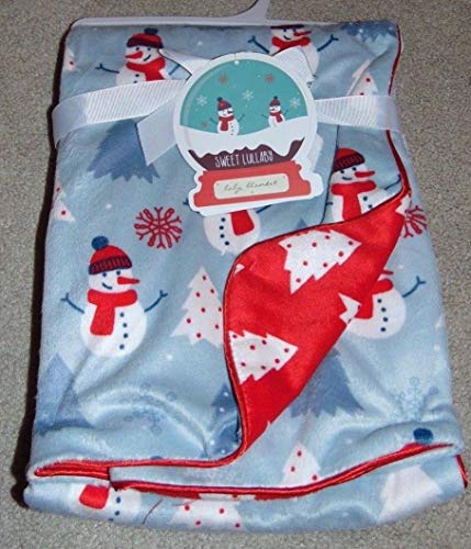 Sweet Snowman - S.L. Home Fashions Sweet Lullaby Super Soft Reversible Christmas Happy Snowman Baby Blanket