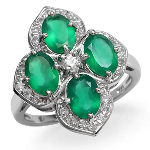 3ct. Natural Emerald Green Agate & White Topaz Gold Plated 925 Sterling Silver Flower Cluster Ring Size 8.5
