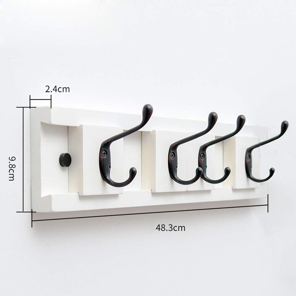 White 48.3cm JIAYING Coat Racks Coat Rack, Wall-Mounted Hook Coat Rack 38 Slidable Hook Bedroom Porch Wall Hanger 2 color Optional Single Hook Can Bear Weight 3kg Multifunction (color   Brown, Size   99.6cm)