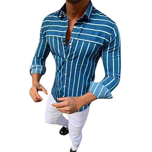 FONMA Men's Baggy Stripe Turn Down Long Sleeve Retro T Shirts Tops Blouse -