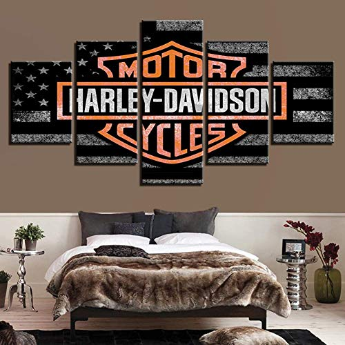 (JSBVM 5 Panels Modern Artwork Canvas Prints Harley Davidson Sign Pictures Paintings Wall Art for Living Room Bedroom Home)