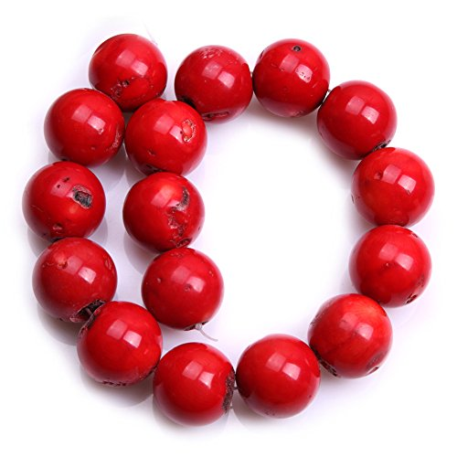 (Red Coral Beads for Jewelry Making Semi Precious Gemstone 24mm-25mm Round Strand 15