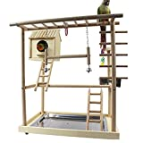 QBLEEV Bird's Nest Bird Stand Parrot Playground Playgym Playpen Playstand Swing Bridge Tray Wood Climb Ladder Wooden Perches(18.7'' L12.8 W20.87 H) (Nest(18.7'' L12.8 W20.87 H))