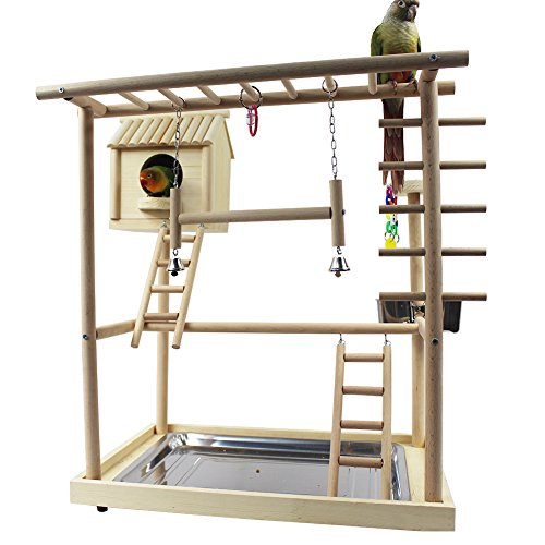 QBLEEV Bird's Nest Bird Stand Parrot Playground Playgym Playpen Playstand Swing Bridge Tray Wood Climb Ladder Wooden Perches(18.7'' L12.8 W20.87 H) (Nest(18.7'' L12.8 W20.87 H)) by QBLEEV (Image #2)