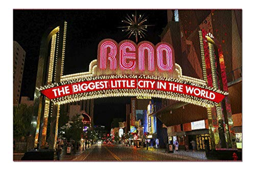 (Reno, Nevada - Neon Lights at Night - Photography A-97747 97747 (20x30 Premium 1000 Piece Jigsaw Puzzle, Made in USA!))