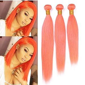 Pure Orange Straight Brazilian Human Hair Bundles Deals 3Pcs Double Wefts Orange Colored Straight Human Hair Weave…