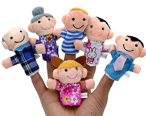 6pcs/set Family Finger Puppets Cloth Doll Baby Educational Hand Toy Story ()