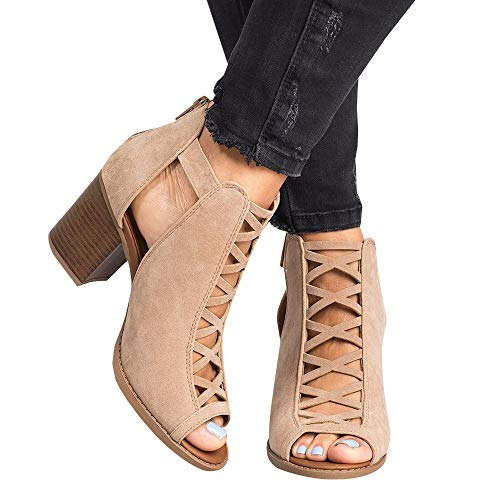 6a2d495541c55 Nailyhome Booties for Womens Chunky Perforated Low Heel Peep Open Toe Ankle  V Cut Block Back Zipper Boots (9 M US, 1-Khaki)