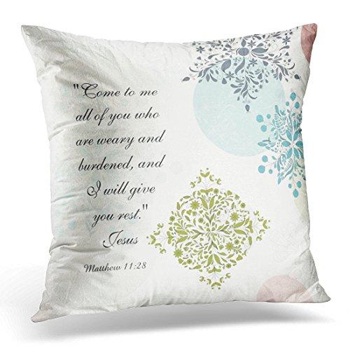 VANMI Throw Pillow Cover Scripture Matthew 11 28 Come to Me All Who are Bible Verse Decorative Pillow Case Home Decor Square 18x18 Inches Pillowcase