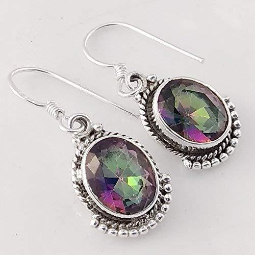 - Mystic Rainbow Quartz Solid 925 Sterling Silver Earrings, Handmade Jewelry for Women, Sterling Silver Earrings, Ruby Earrings for Valentine's Gift, Labradorite Earrings