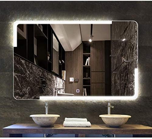 JIANGLI Wall-Mounted Bathroom Mirror, Anti-Fog Smart Bluetooth Lighting Vanity Mirror with Separate -