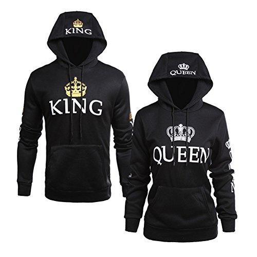 Corona Con Corona Manica Felpa Stampa Minetom Uomo Hoodies Lunga Queen Donna Lovers Pullover Blu Sweatshirt Cappotto Giacca e King Cappuccio qXXUPwAznx