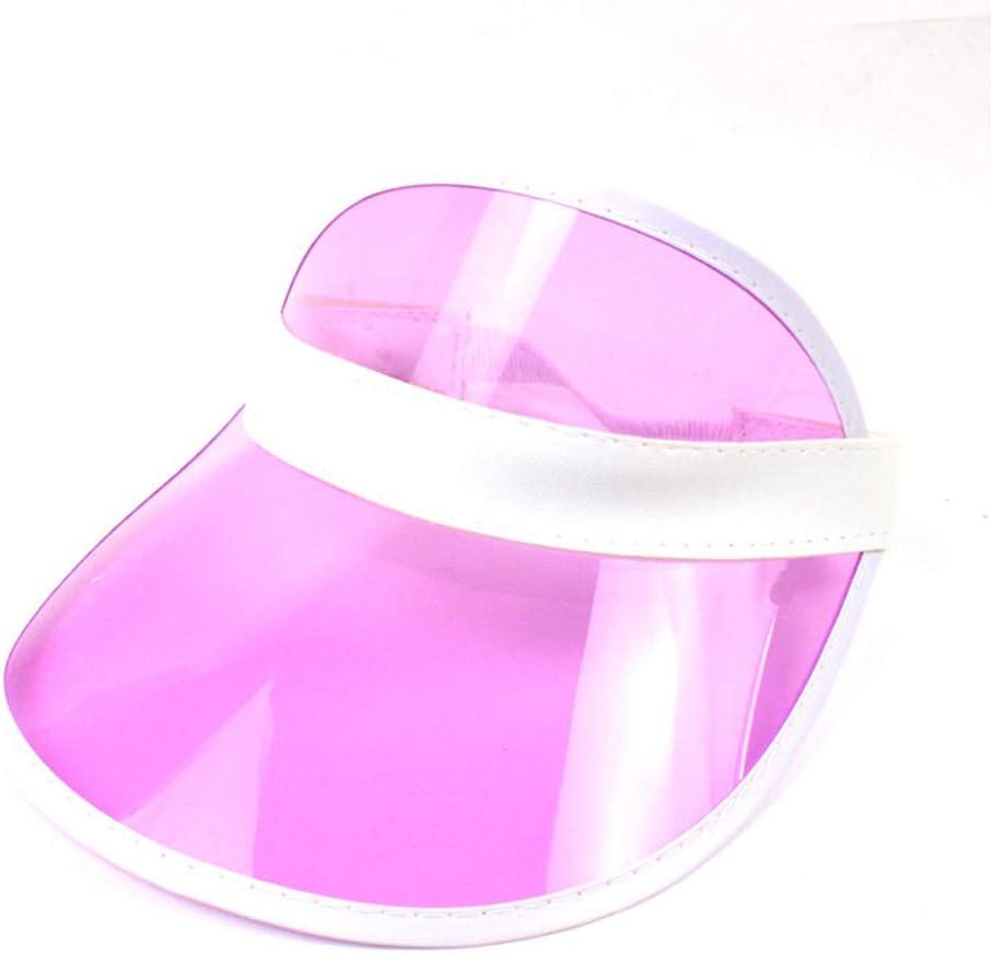 VIccoo 10 Colores Mujeres Hombres Transparente PVC plástico sombrilla Sombrero Helado Dulce Color Caramelo vacío Abierto Superior Deportes Playa Visera Gorra Correa Espalda - 7
