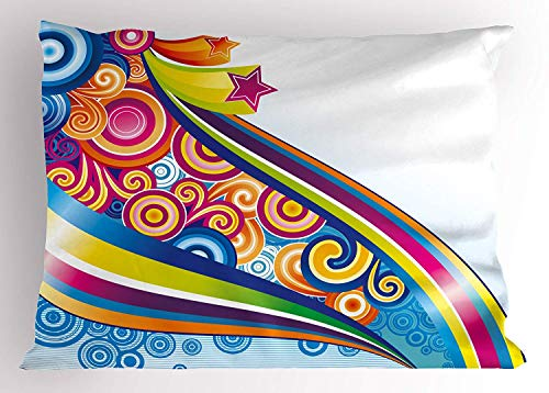(K0k2t0 Modern Decor Pillow Sham, 80s Cartoon Rainbow Like Image with Stars Orients Waves Geometric Artwork, Decorative Standard Queen Size Printed Pillowcase, 30 X 20 inches,)