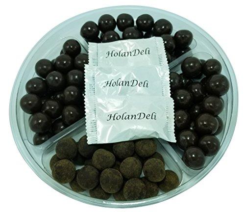 Assorted Dark Chocolate Caramel Gift Basket Tray. Tiramisu Caramels, Coconut Milk Caramels, Sea Salt Caramels, Espresso Caramels. Includes Our Exclusive HolanDeli Chocolate Mints.