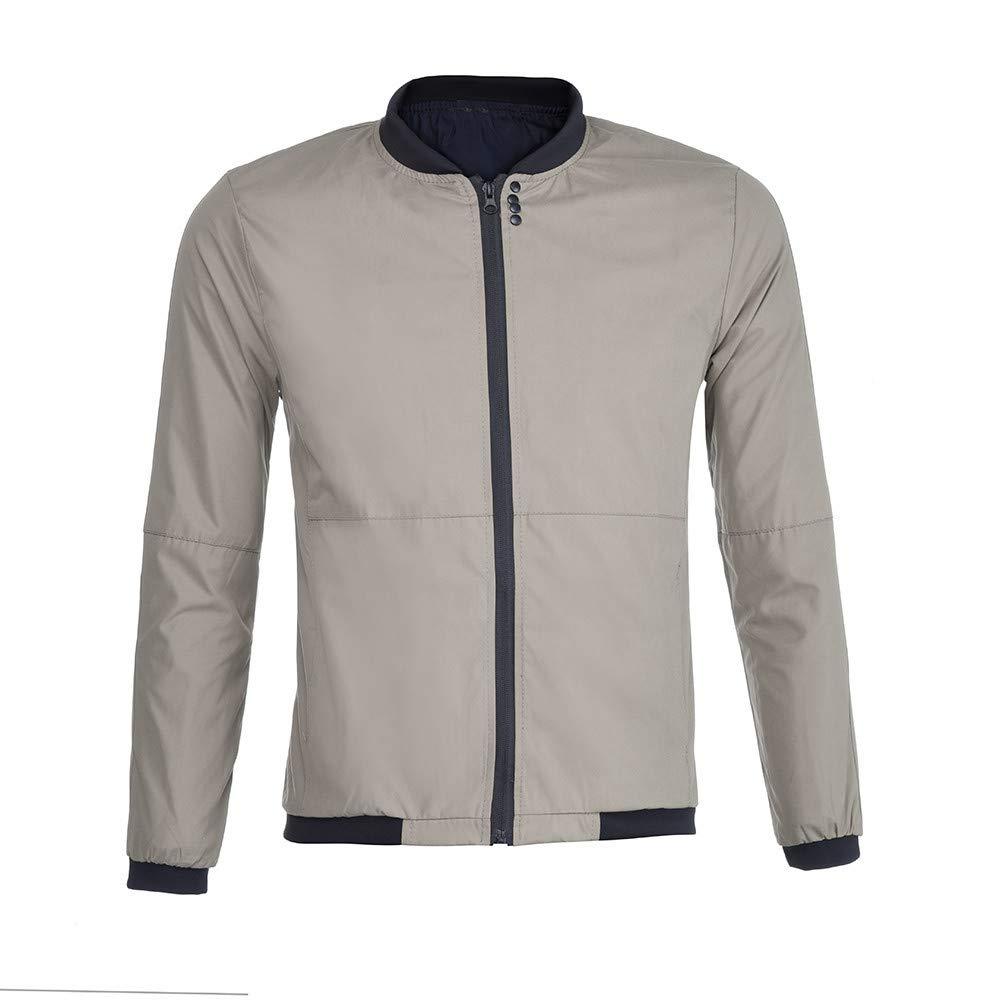 Caslia Mens Autumn Winter Jacket Zipper Solid Coat Outwear