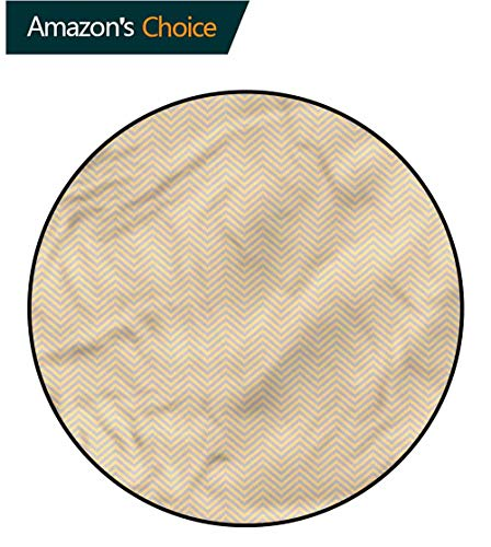 (RUGSMAT Vintage Warm Soft Cotton Luxury Plush Baby Rugs,Zig Zag Chevron Retro Design Non-Slip Fabric Round Rugs for Floor Mat Carpet Round-59)