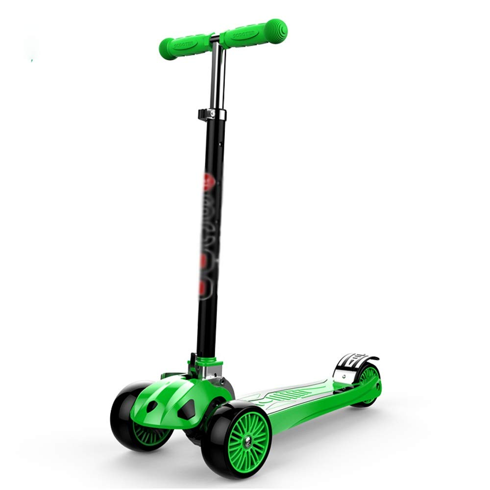 FDSjd Scooter, One-Legged Scooter, Male and Female, 1-12 Years Old, Gravity Steering, Yo-yo (Color : Green) by FDSjd (Image #1)